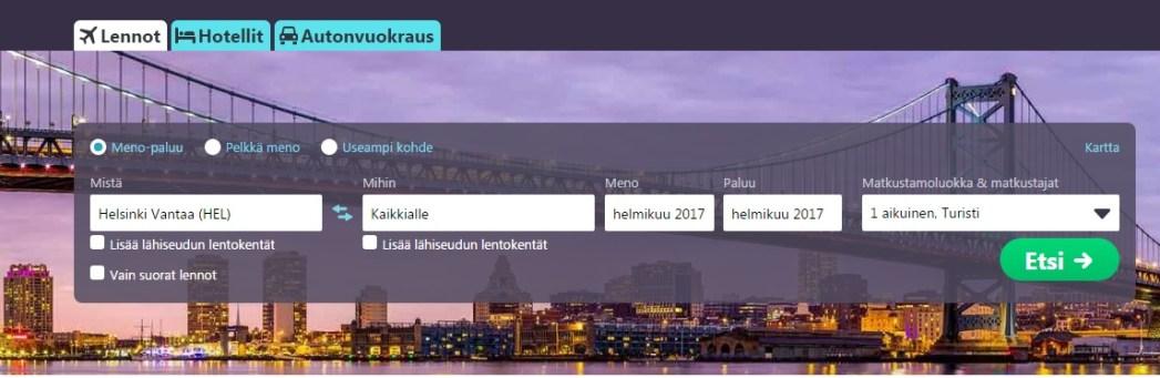 Screenshot hinnan esittämisestä kaaviona
