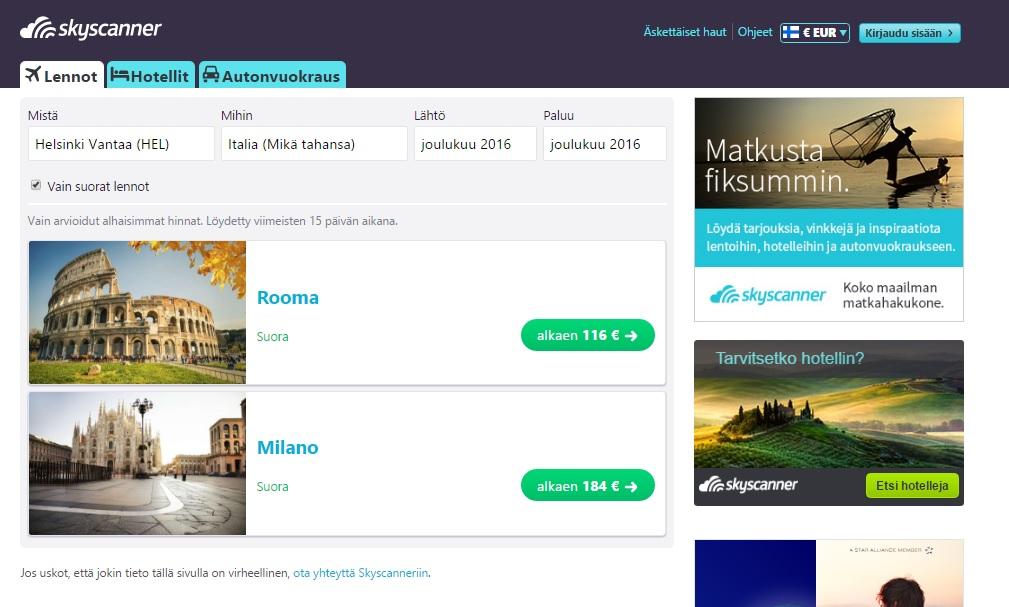 Kuva listauksesta, jossa näkyy lennot kaikkii Italian kohteisiin